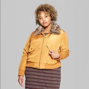 New Removable faux fur collar bomber Jacket -Camel